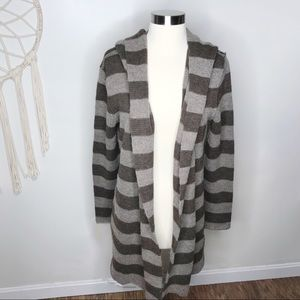 Vince Striped Hooded Long Cardigan